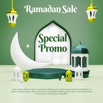 Vendita di ramadan 3d con banner di social media sul podio