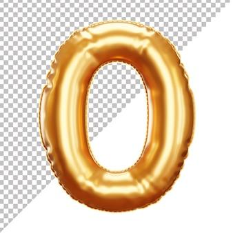 Palloncino in lamina di elio d'oro numero 0 realistico 3d isolato