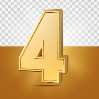 3d realistico 1 numero oro isolato