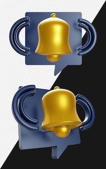 Isolare l'illustrazione realistica della notifica della campana 3d