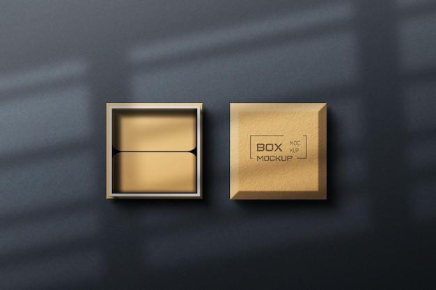 Progettazione di mockup scatola realistica 3d con ombra elegante