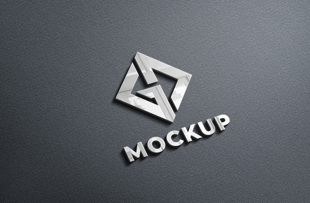 3d realistico chrome logo mockup