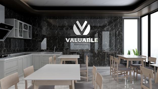 Modello realistico del logo dell'azienda 3d nell'area della dispensa dell'ufficio per il pranzo