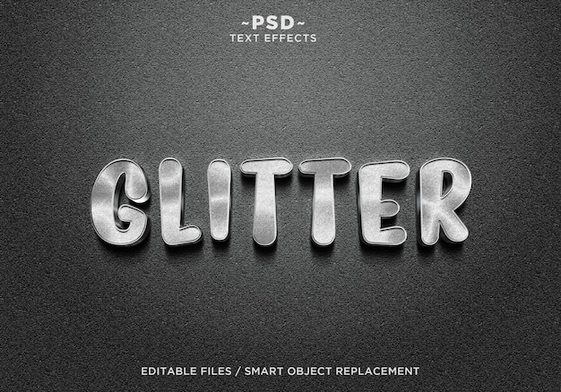 Testo 3d effetti glitter argento realistici