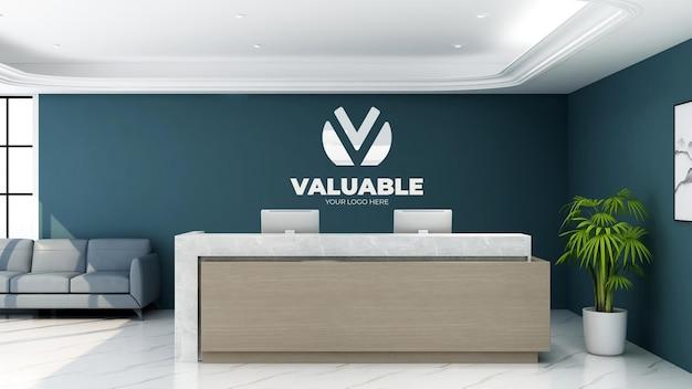 Modello di logo realistico 3d nella stanza della reception dell'ufficio