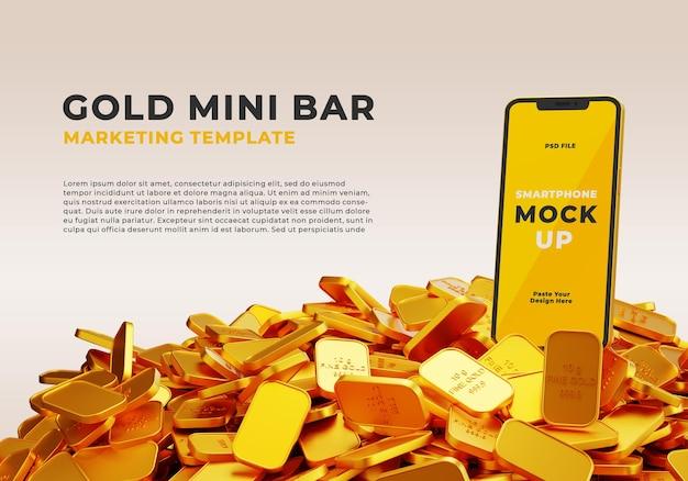 Mockup realistico 3d di smartphone con pila di mini bar in oro fino