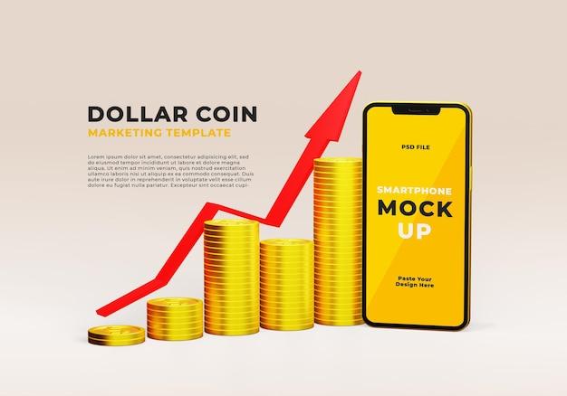 Modello realistico 3d di smartphone con pila di moneta da un dollaro e freccia di mercato