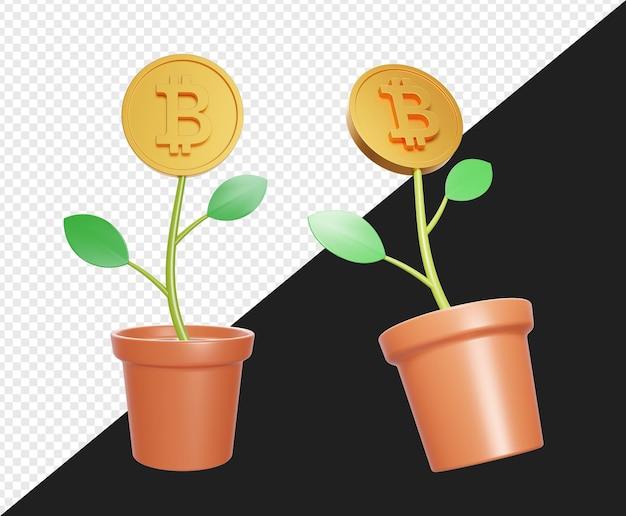 Pianta in vaso realistica 3d con oro bitcoin isolato
