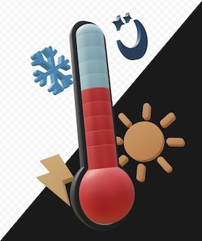 Rendering 3d realistico della misurazione della temperatura o del termometro con il simbolo del clima