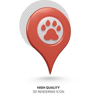 3d rendering realistico puntatore pin posizione dell'animale domestico icona design