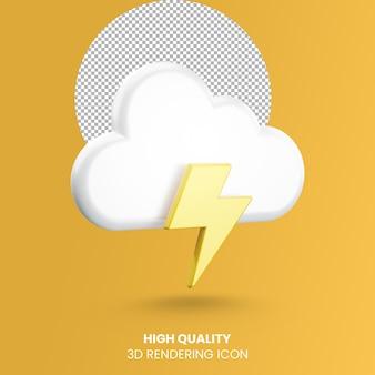 Icona del tempo di rendering realistico 3d con nuvole e tempesta