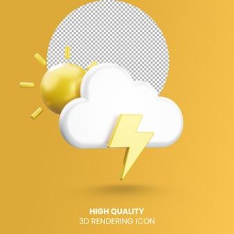 Icona del tempo di rendering realistico 3d con sole nuvola e tempesta