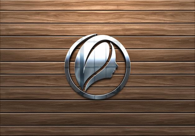 3d realistico segno parete chrome logo mockup