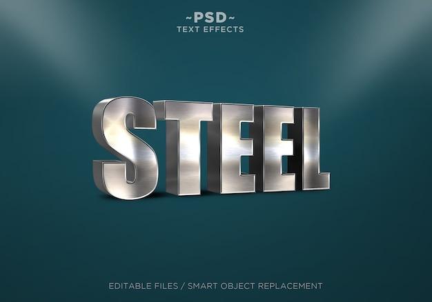 Testo modificabile con effetti 3d realistici in acciaio