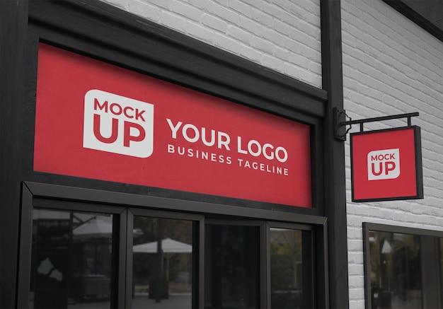 Parte anteriore del negozio realistico 3d con segno quadrato