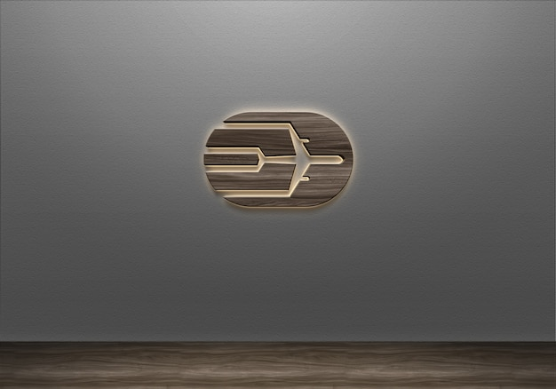 Mockup di logo della parete del segno di luce in legno realistico 3d