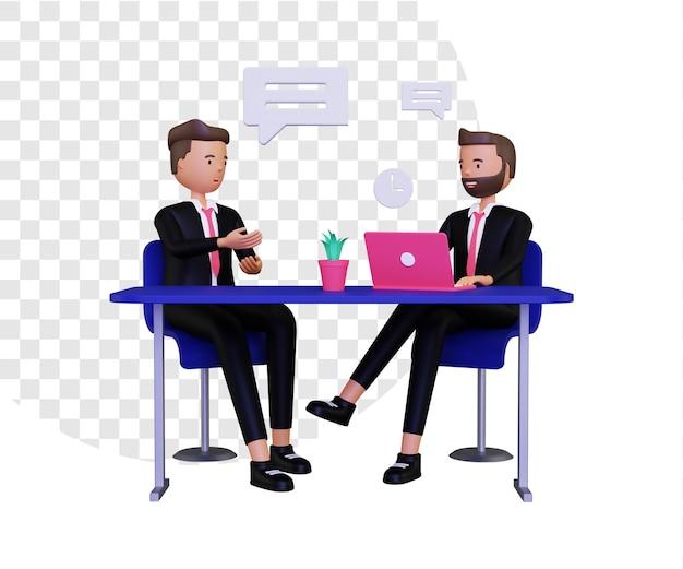Illustrazione di concetto di reclutamento 3d con laptop