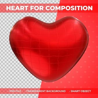 3d rosso metallico amore o forma di cuore per il rendering 3d di composizione