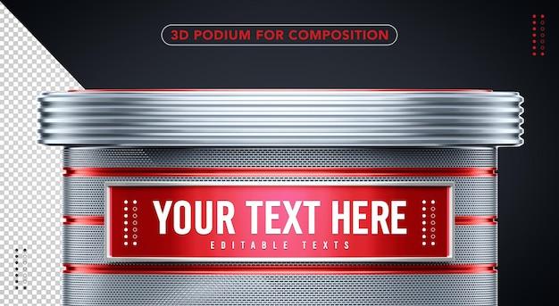 Podio rosso 3d con argento per inserire il tuo testo qui