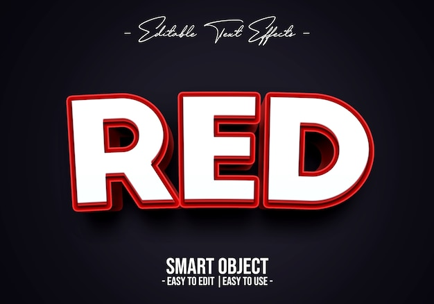 Modello di effetto stile testo rosso 3d