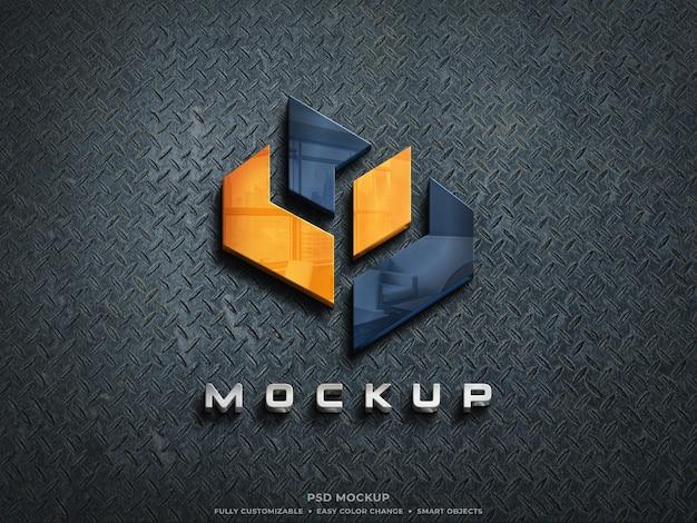 Mockup logo in vetro riflettente 3d su parete in acciaio grezzo mockup logo colorato 3d