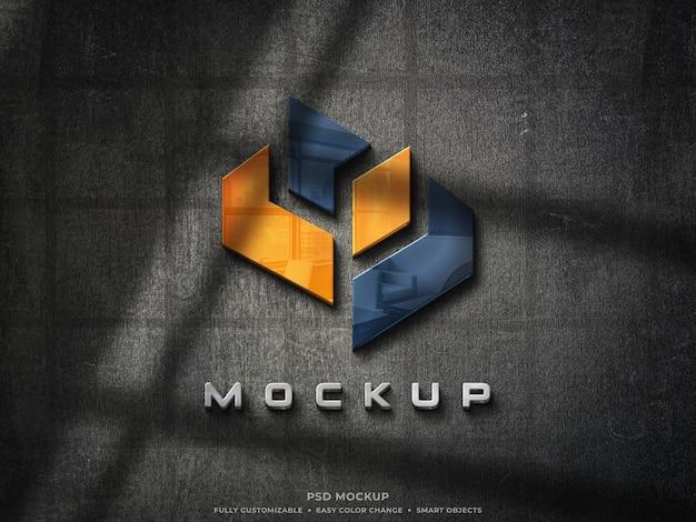 Mockup logo in vetro riflettente 3d su parete ruvida mockup logo colorato 3d