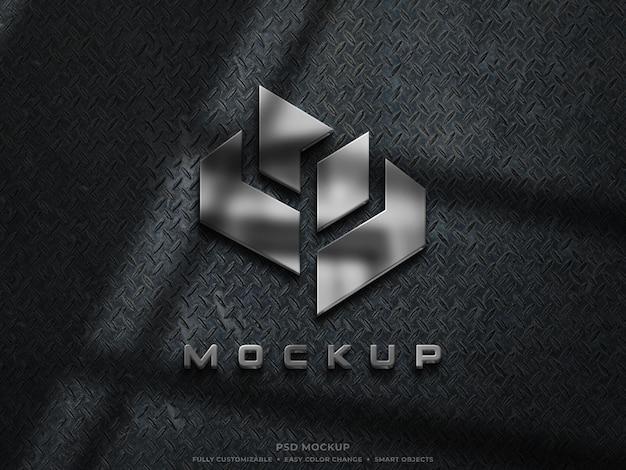 Mockup logo metallico in acciaio inossidabile riflettente 3d mockup logo 3d argento