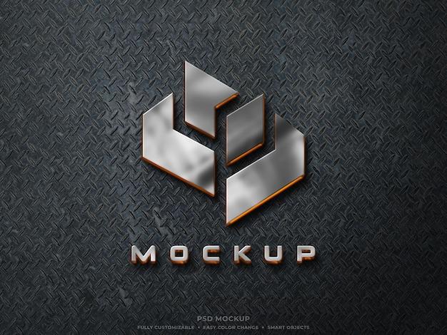 Logo metallico in acciaio inossidabile riflettente 3d mockup con luce arancione incandescente