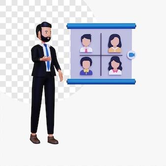 Illustrazione di concetto di riunione a distanza 3d con personaggio maschile