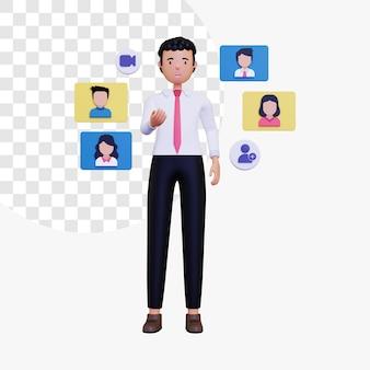 Illustrazione del concetto di riunione remota 3d