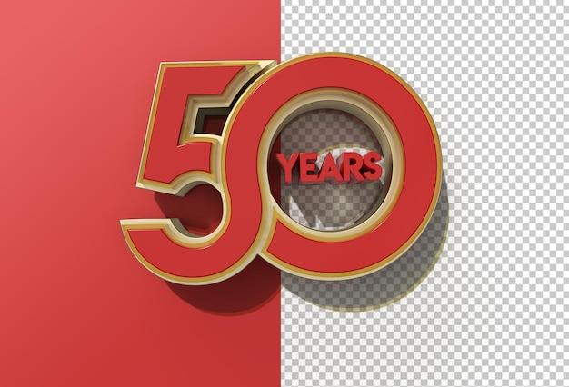 File psd trasparente di celebrazione di 50 anni di rendering 3d.