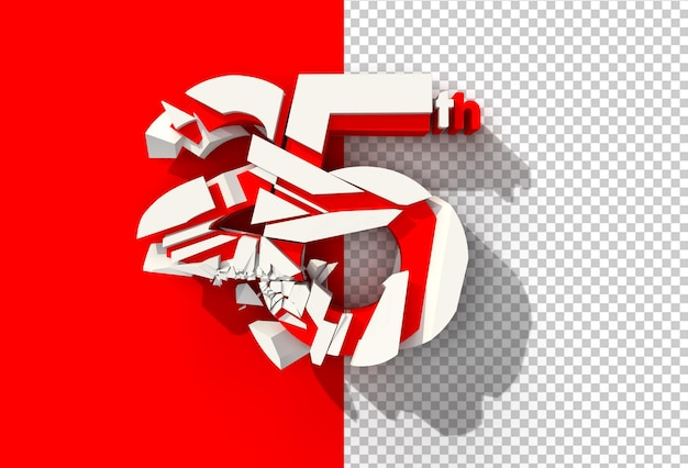 File psd trasparente numero rotto astratto di rendering 3d.