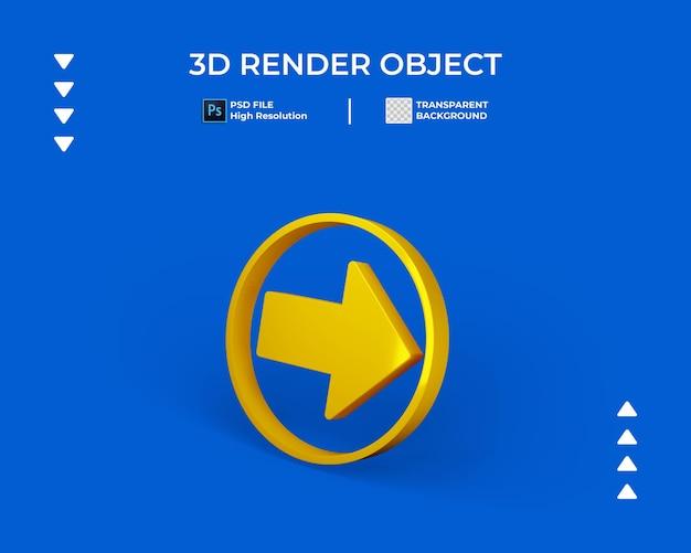 Rendering 3d dell'icona a forma di freccia con bordo rotondo isolato