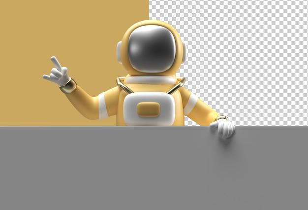3d render mano di astronauta che punta con in mano un banner