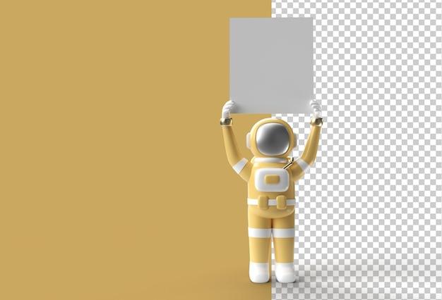 Rendering 3d astronauta con in mano uno striscione bianco