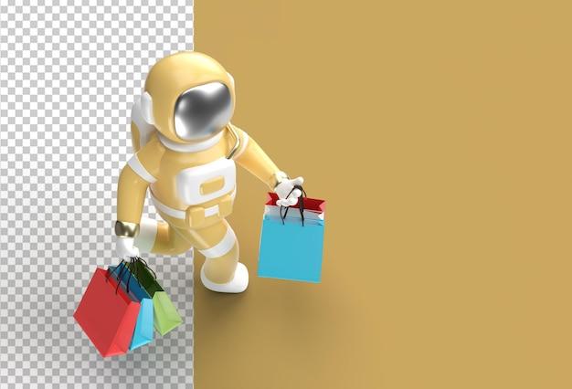 Rendering 3d astronauta con borse della spesa
