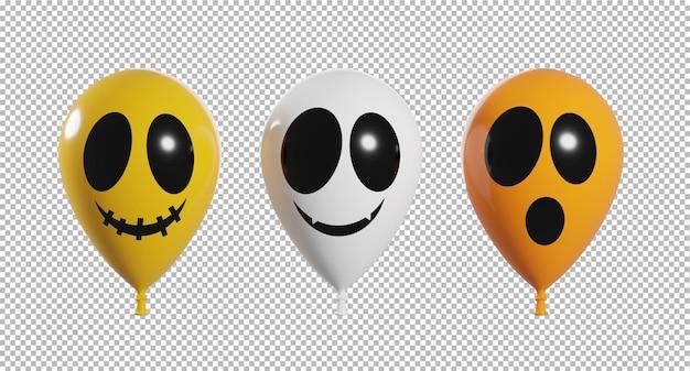 Rendering 3d di palloncini faccia spaventosa con sfondo trasparente concetto di halloween,percorso di ritaglio