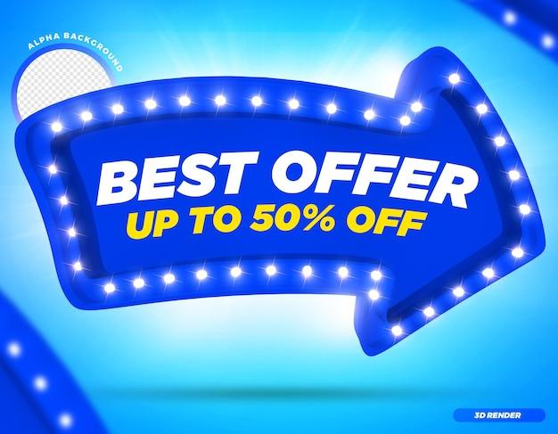 Rendering 3d migliore offerta fino a 50 di sconto freccia blu con luci premium psd