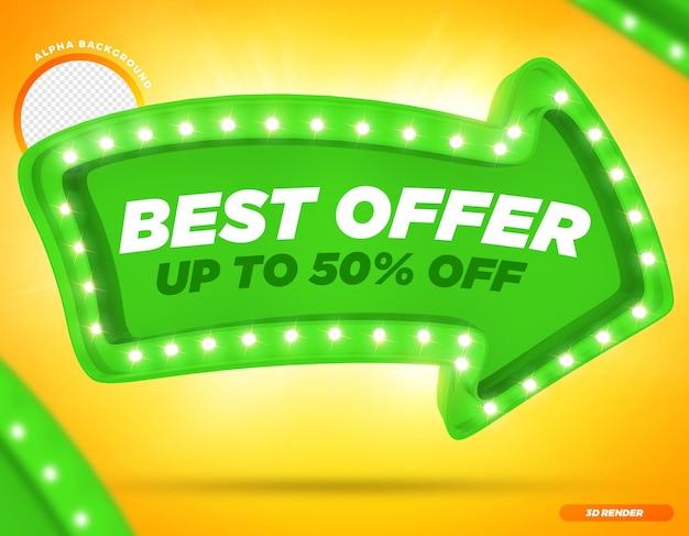 Rendering 3d migliore offerta fino a 50 freccia verde con luci premium psd
