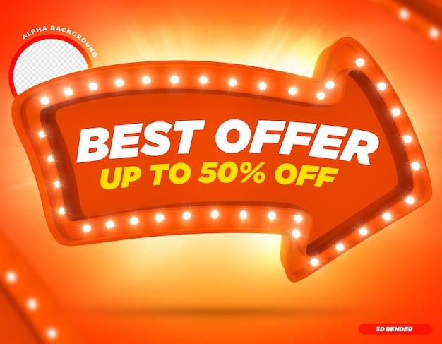 Rendering 3d migliore offerta fino a 50 freccia arancione con luci premium psd