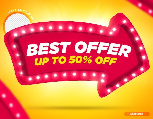 Rendering 3d migliore offerta fino a 50 freccia rosa con luci premium psd