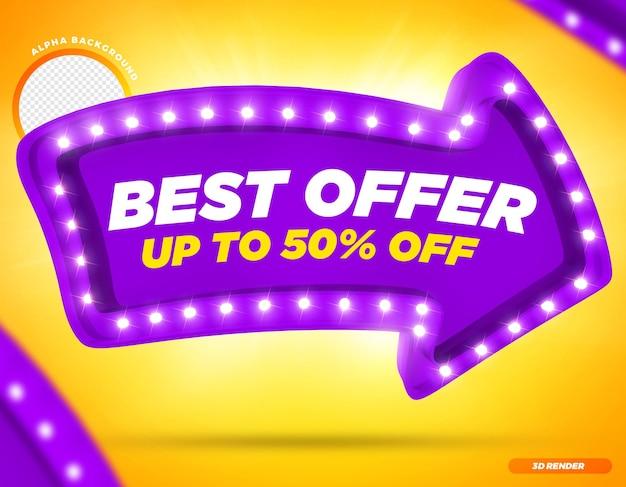 Rendering 3d migliore offerta fino a 50 di sconto sulla freccia viola con luci premium psd