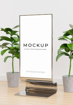Rendering 3d del tabellone per le affissioni con la pianta nel modello della stanza del museo