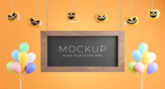 Rendering 3d della lavagna nera con il concetto di halloween per la visualizzazione del prodotto