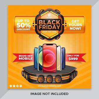 Rendering 3d banner black friday per super offerte modello di rendering 3d design