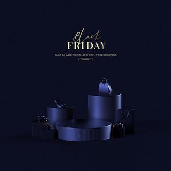 3d rendono la vendita del venerdì nero su sfondo blu oggetto di shopping di lusso