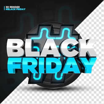 3d render blue black friday label con luci a led isolate per composizione