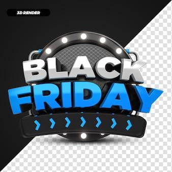 3d render blue black friday offerta etichetta promozionale