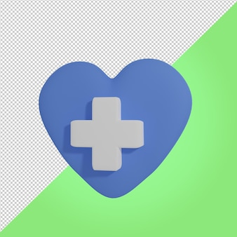3d rendono l'icona medica del cuore di amore blu