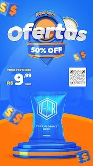 Il rendering 3d blu e arancione qui ha offerte di promozione di storie di instagram modello di post sui social media